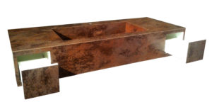 Top cm 170x50 h 25 in Laminam oxide moro, con inserimento n. 2 cassetti push