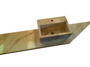 Top con lavabo in appoggio realizzati in Kerlite Calacatta